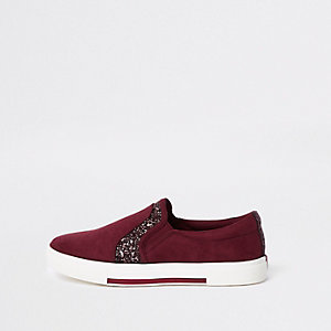 Dark red glitter panel slip on plimsolls