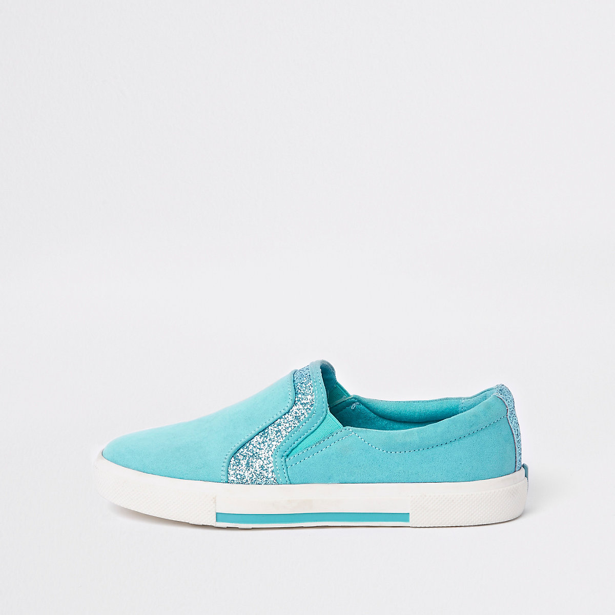 Blue glitter panel slip on plimsolls