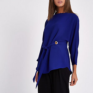 Blue eyelet tie front high neck top