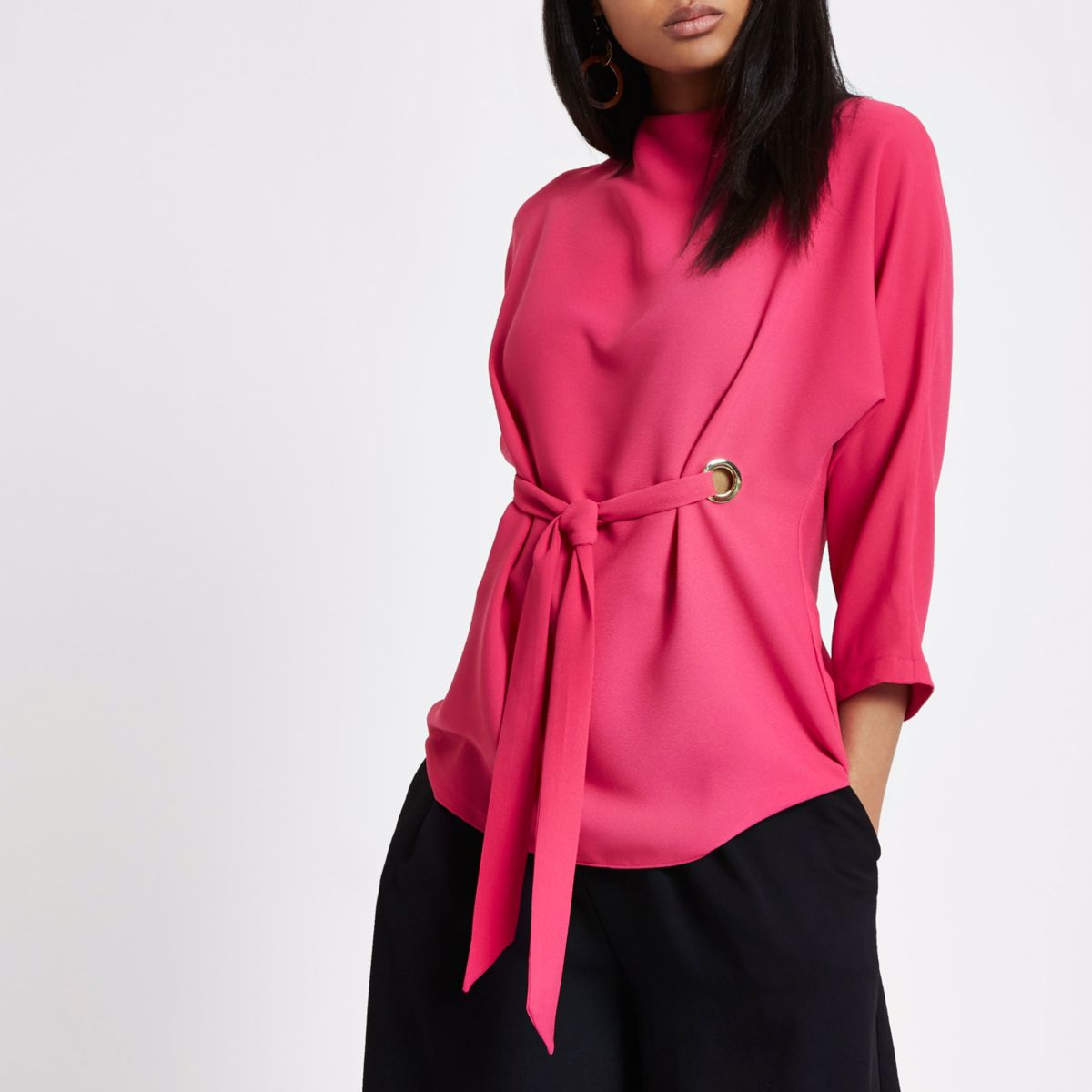 Pink eyelet tie front high neck top