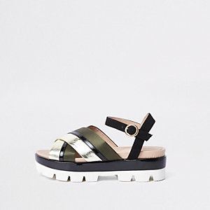 Khaki cross strap chunky sandals