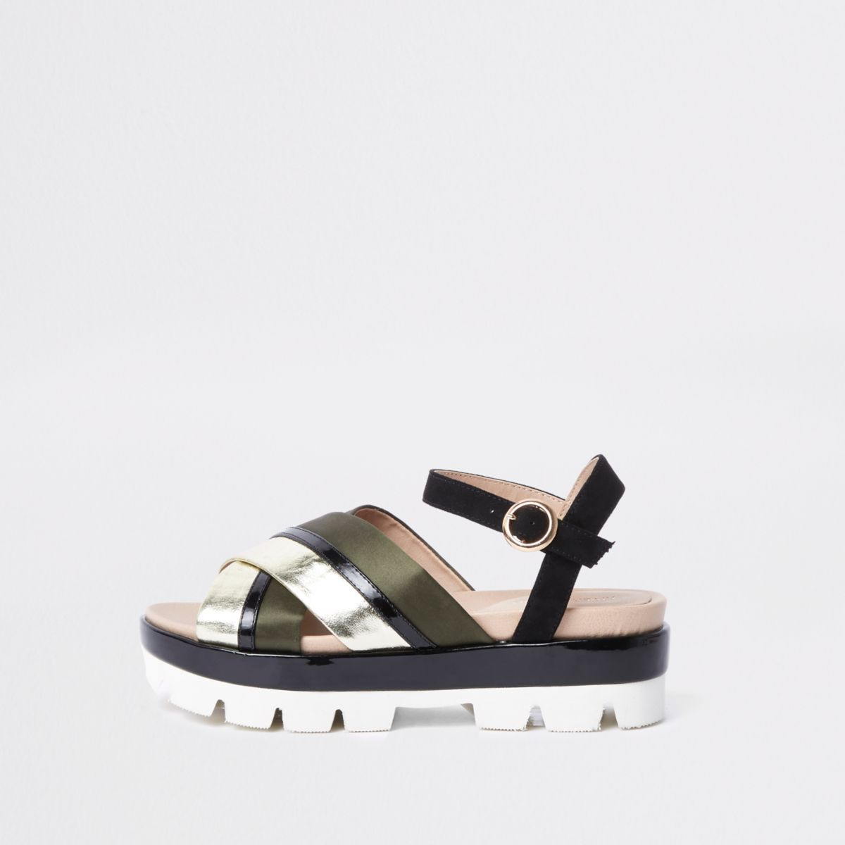 Khaki cross strap chunky sandals