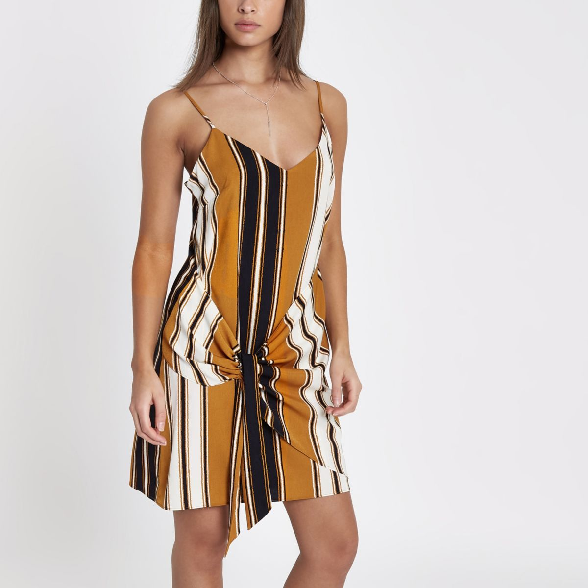 Yellow stripe print tie front cami dress