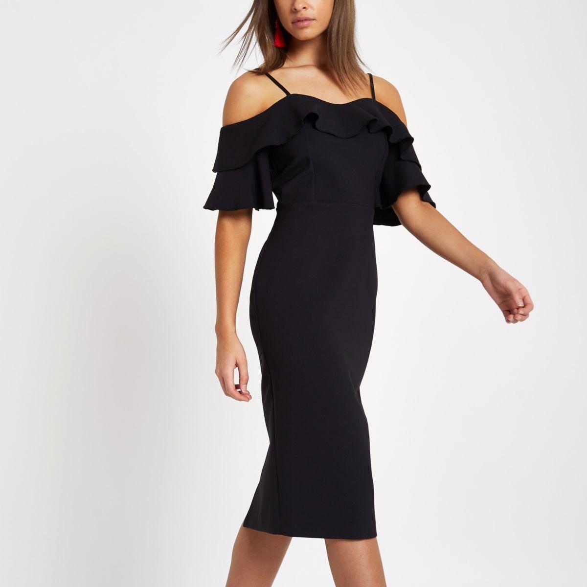 Schwarzes, schulterfreies Bodycon-Kleid