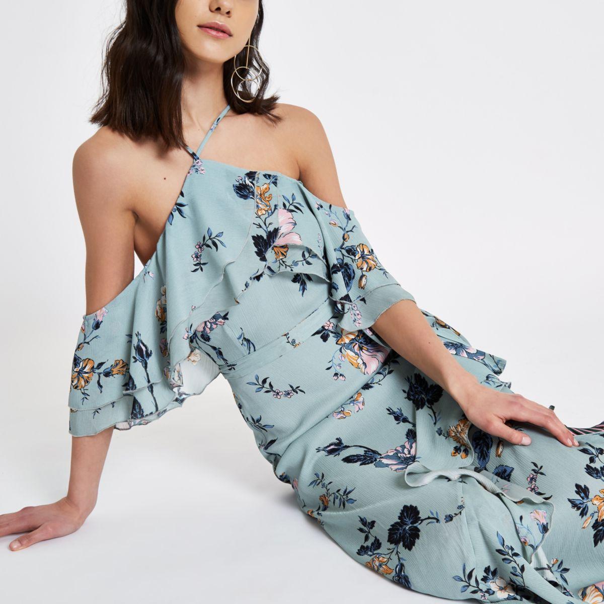 Blauwe gebloemde schouderloze maxi-jurk met ruches