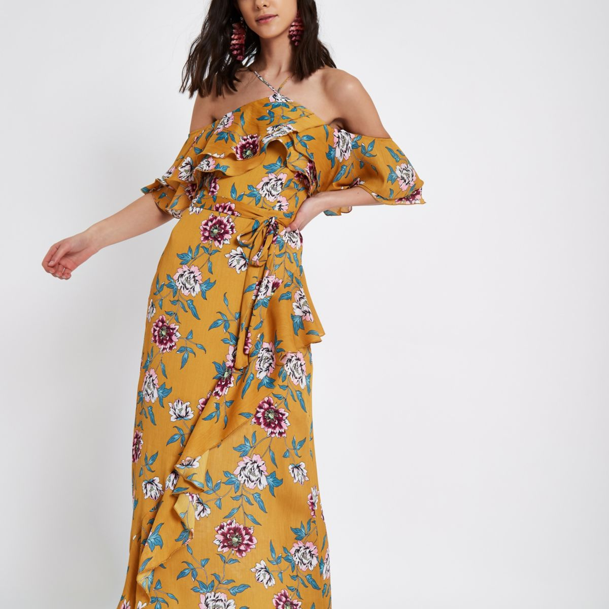 Yellow floral print cold shoulder maxi dress