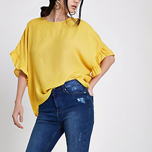 Yellow loose fit frill sleeve top