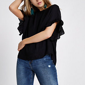 Black loose fit frill sleeve top