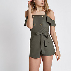 Khaki bardot button playsuit