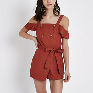 Rust bardot button playsuit