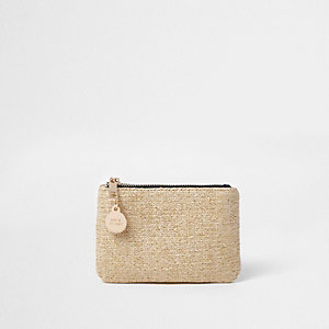 Beige metallic straw pouch purse