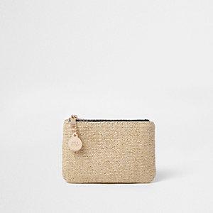 Beige metallic straw pouch purse