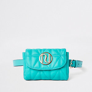 Green quilted RI branded mini belted bumbag