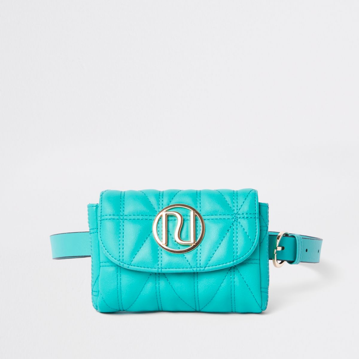 Green quilted RI branded mini belted bum bag