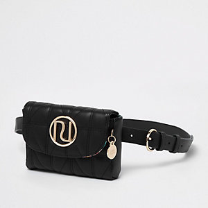 Black quilted RI branded mini belted bumbag