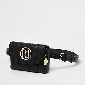 Zwart doorgestikt mini heuptasje met riem en RI-logo