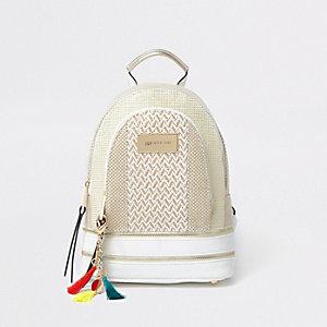 Beiger Mini-Rucksack mit Reißverschlusstasche
