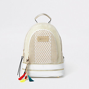 Beige woven zip pocket mini backpack