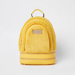 Yellow mini faux fur backpack