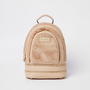 Pinker Rucksack aus Kunstfell