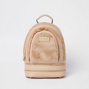 Pink  mini faux fur backpack