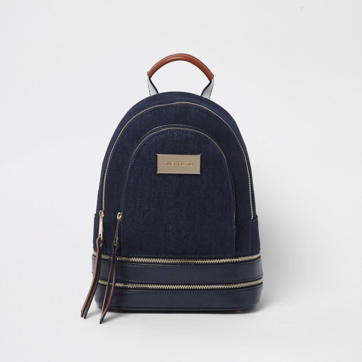 Blue denim zip pocket backpack