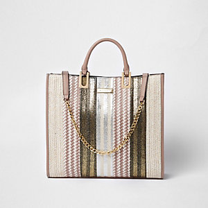 Beige metallic woven straw shopper bag
