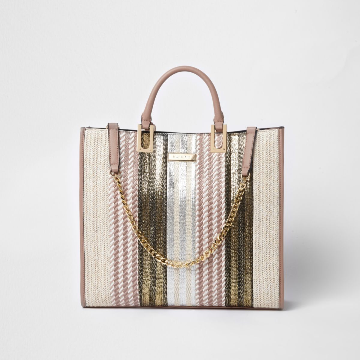 Beige metallic woven straw shopper bag