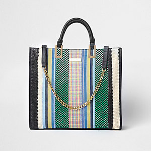 Green multicolour woven straw shopper bag