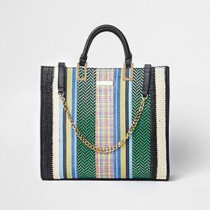Green multicolour woven straw shopper bag