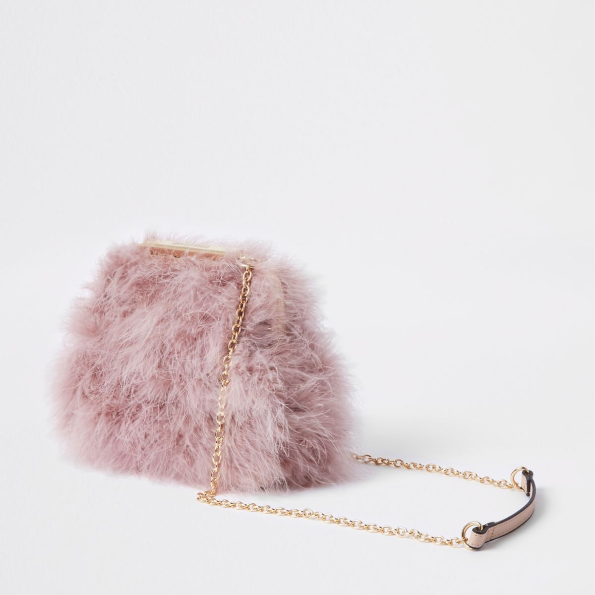 Pink Feather Clutch Chain Bag by River Island