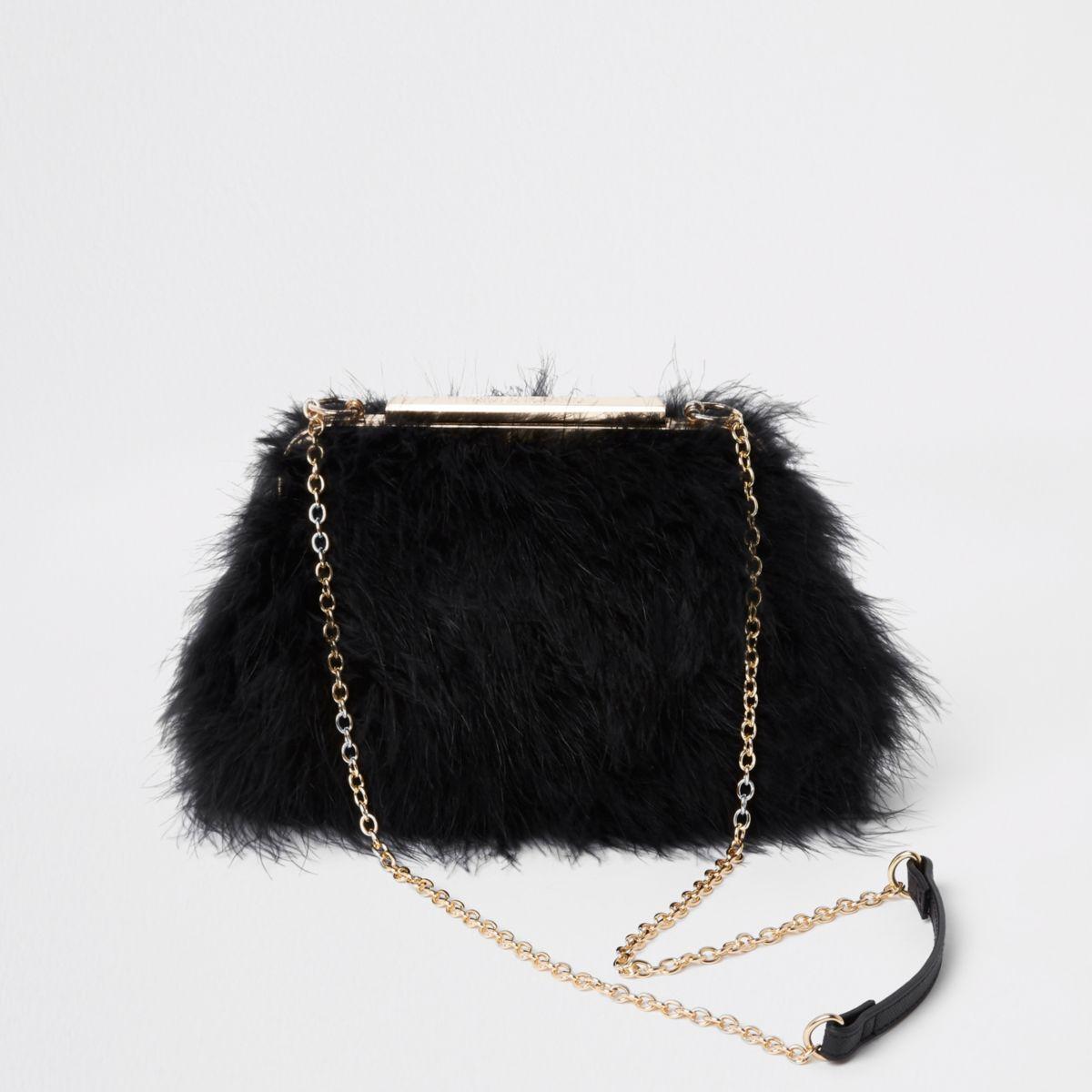 Black feather frame chain bag