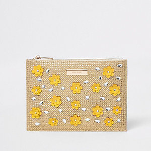 Beige metallic woven 3D flower clutch bag