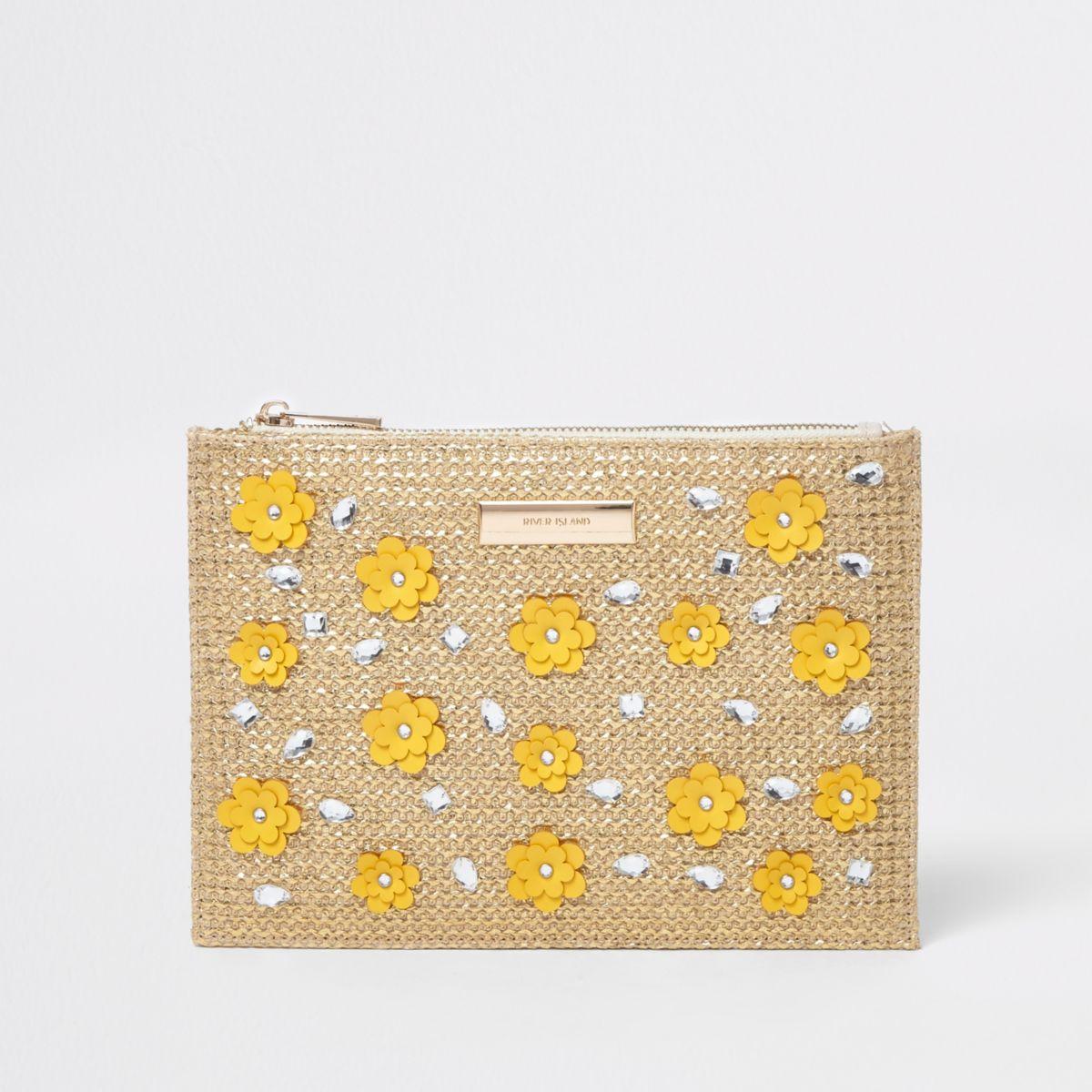 Beige metallic woven 3D flower clutch bag