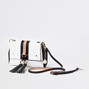 White double ring tassel cross body bag