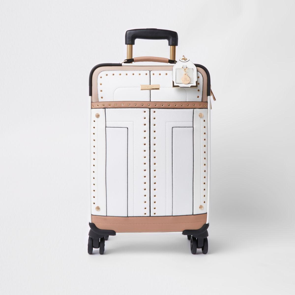 White stud and eyelet suitcase