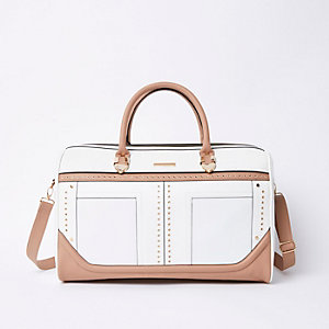 White studded weekend bag