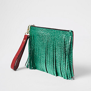 Green leather fringe pouch clutch bag