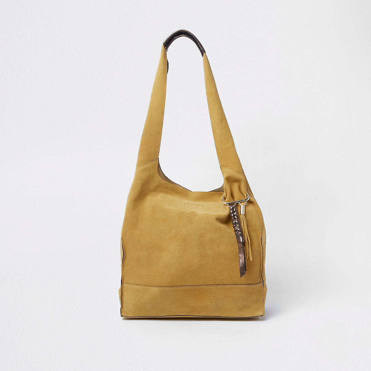 Mustard yellow suede slouch tote bag