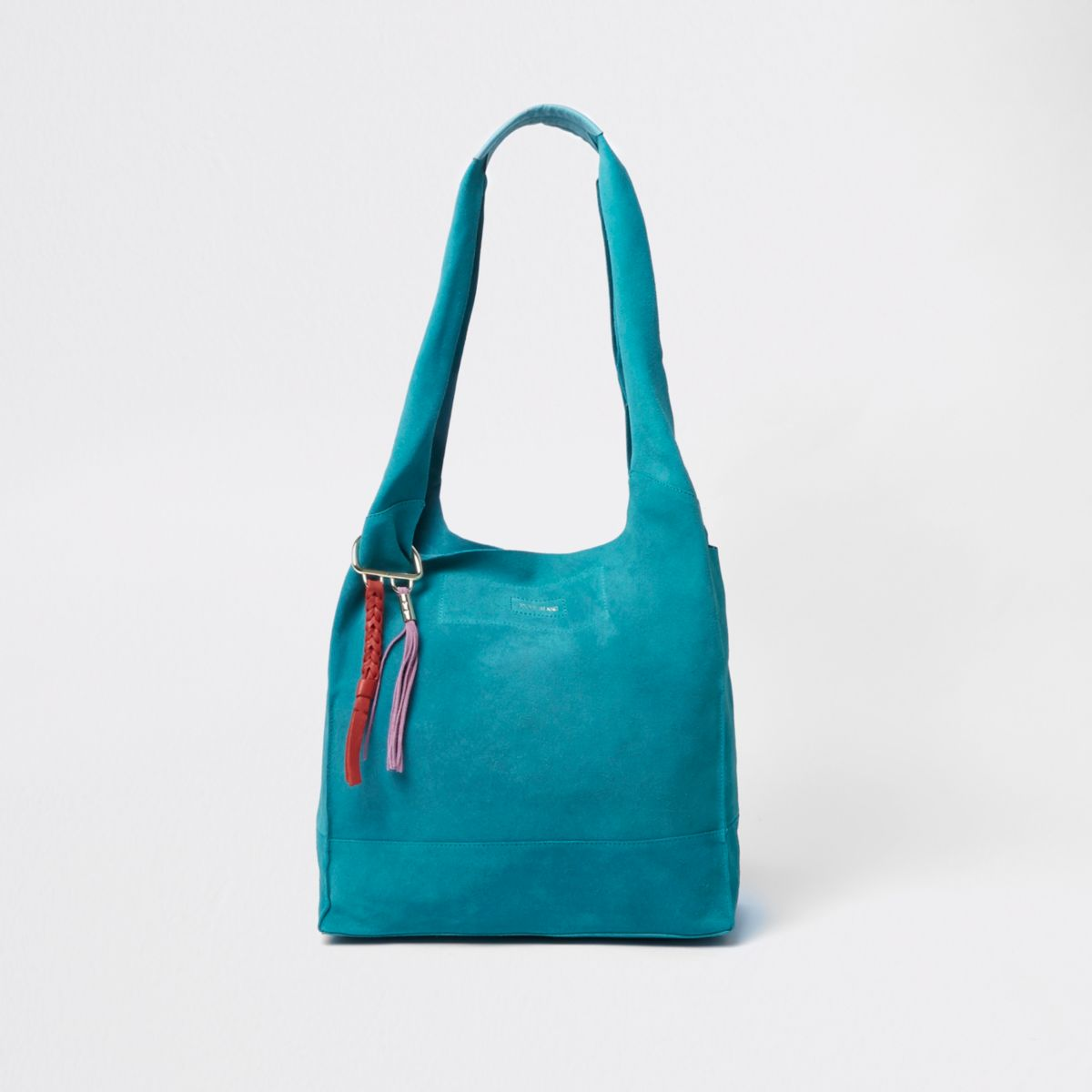 Teal blue suede slouch tote bag