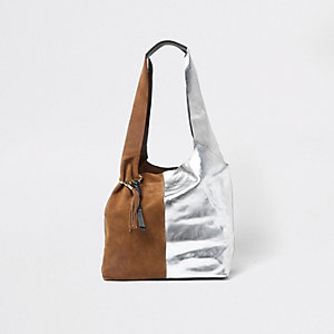 Tote Bag in Hellbraun und Silber