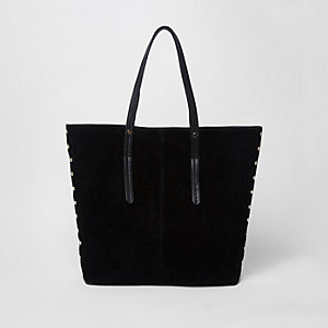 Black studded suede croc tote bag