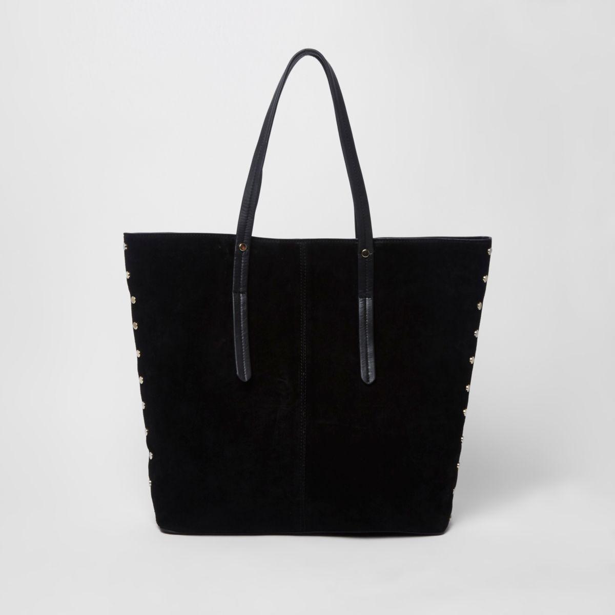 Zwarte suède handtas met studs en krokodillenprint