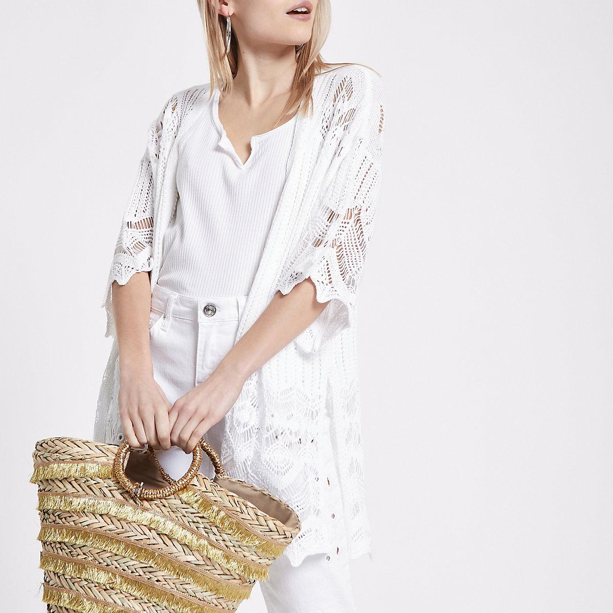 Petite white crochet kimono sleeve cardigan