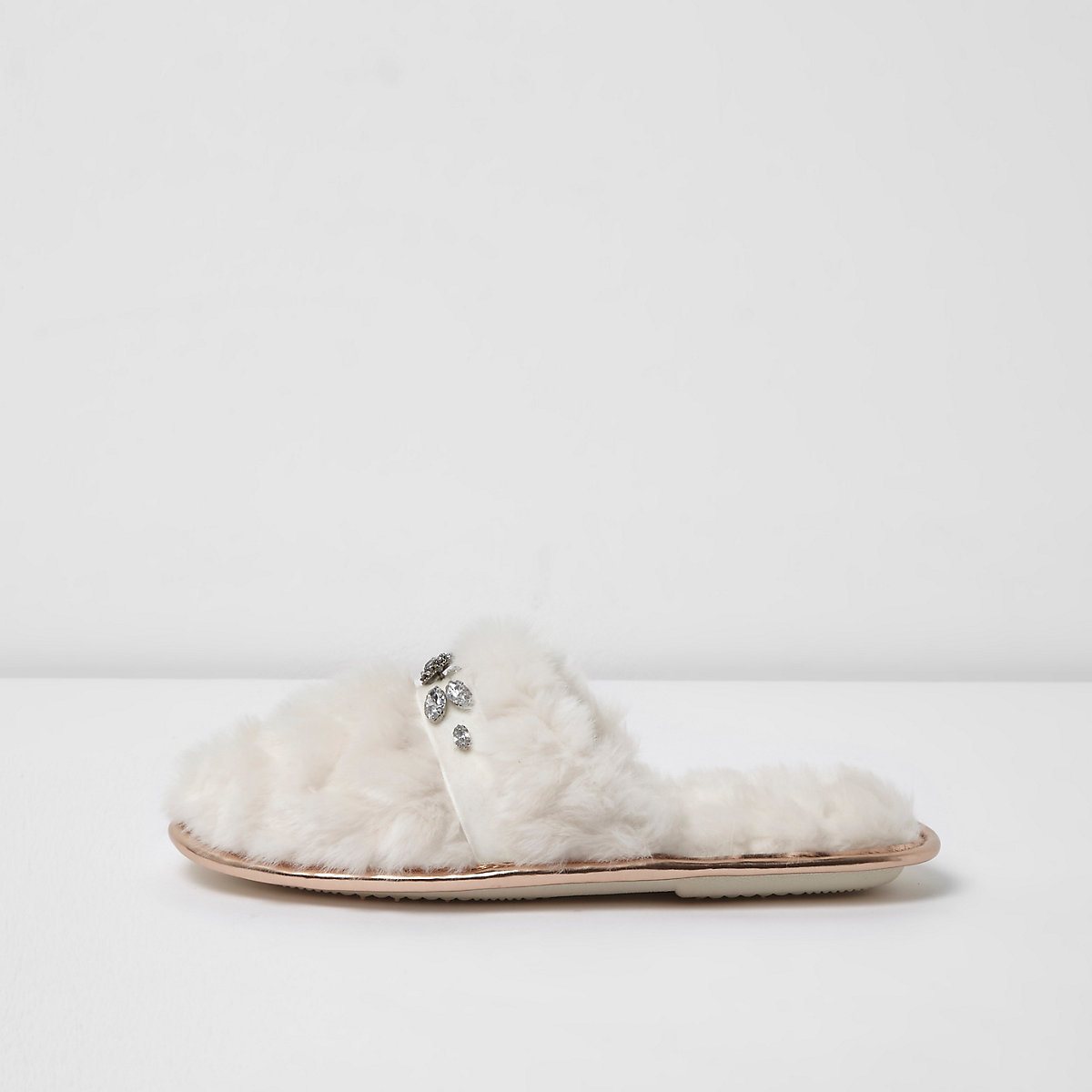 Cream diamante embellished quilted slippers