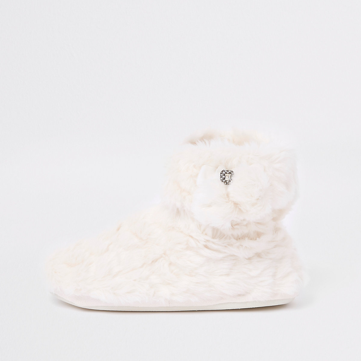 Cream fluffy pom pom bootie slippers
