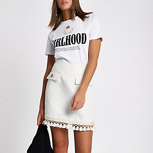 Cream fringe detail mini skirt