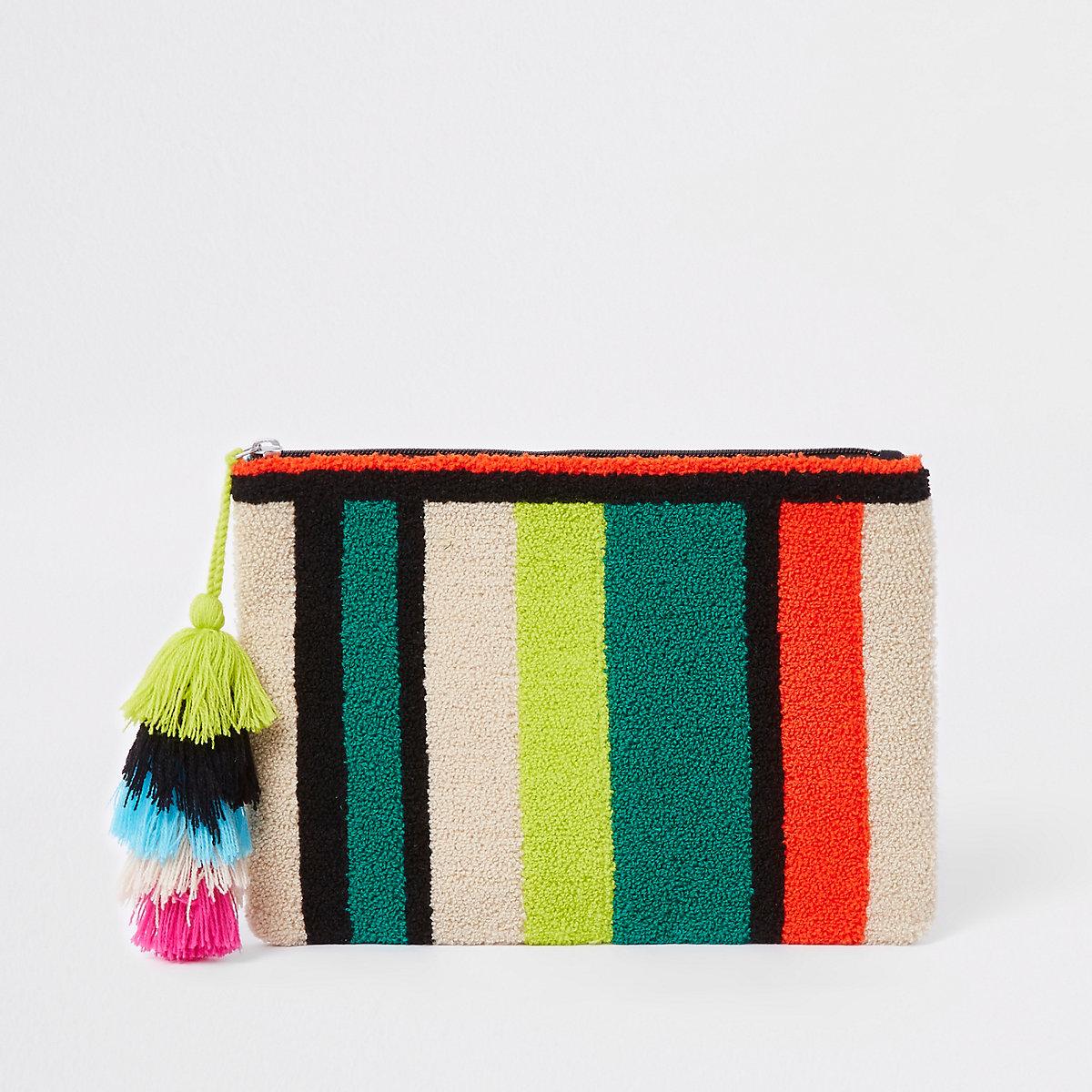 Green stripe tassel suede pouch clutch bag