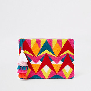 Pink multicolour geo tassel pouch clutch bag