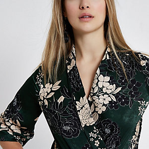 Green floral print kimono bodysuit